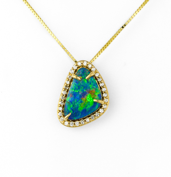 Aussie Opal and Diamond Pendant by Parle
