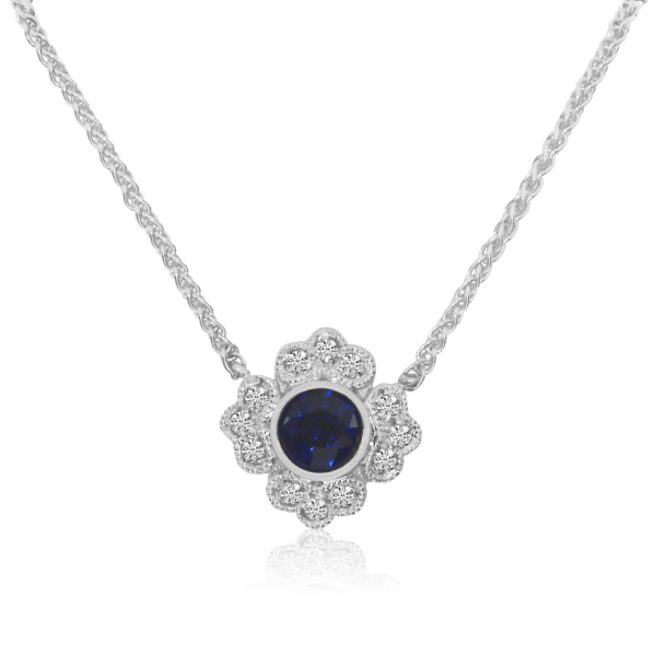 Sapphire and Diamond Pendant by Color Merchants