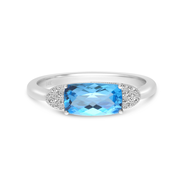 Blue Topaz and Diamond Ring by Color Merchants