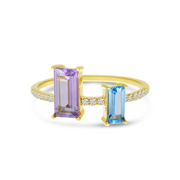 Amethyst, Topaz, and Diamond Ring  by Color Merchants