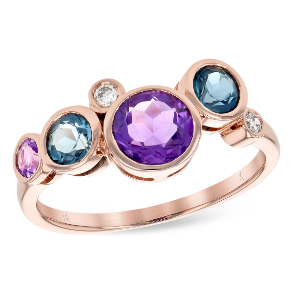 Amethyst, Blue Topaz and Diamond Ring by Allison Kaufman
